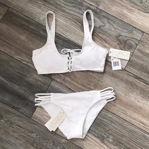 86f4f4709c62a BNWT L Space white bikini set Size Small